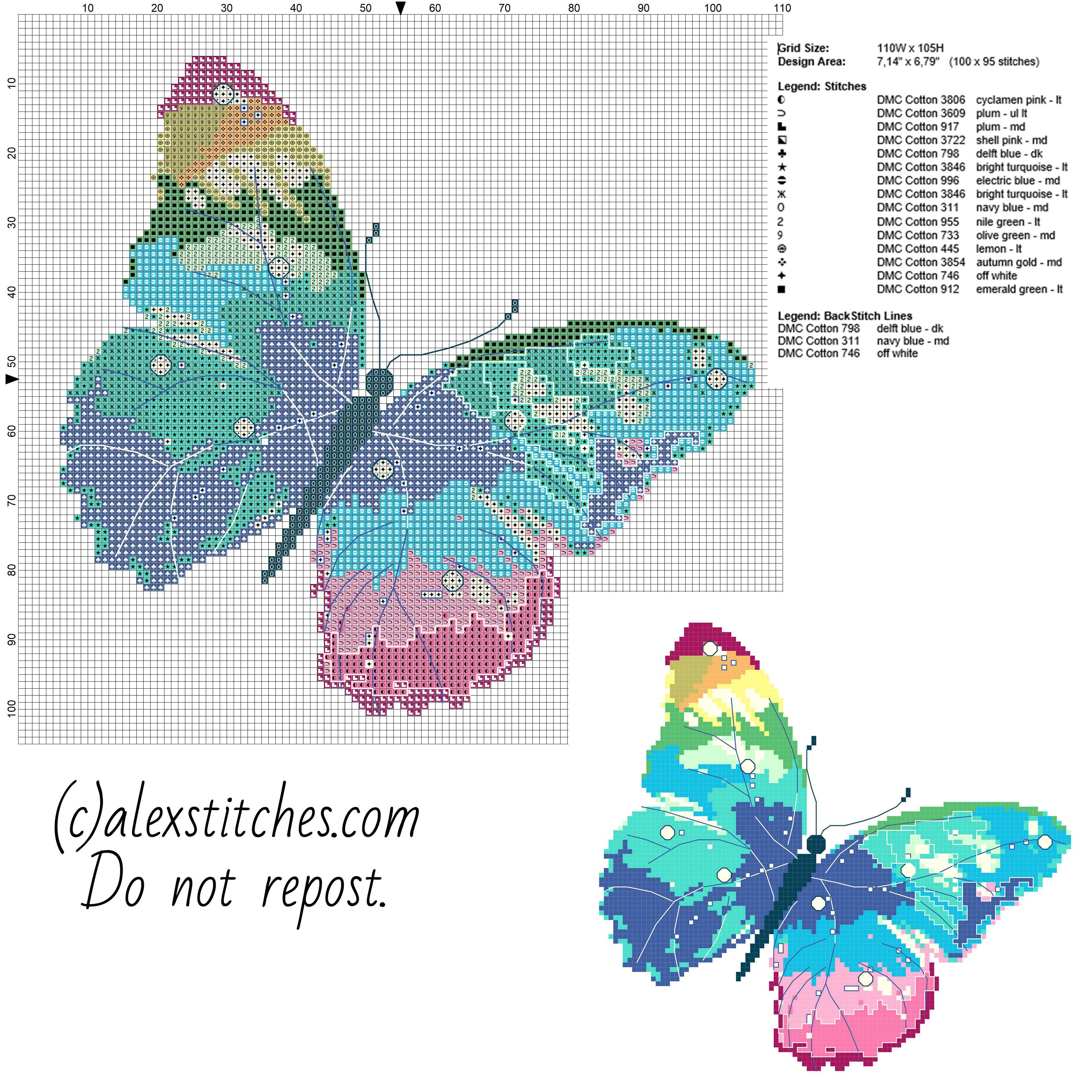 Adrenaline Molecule Cross Stitch Pattern Butterfly Cross Stitch