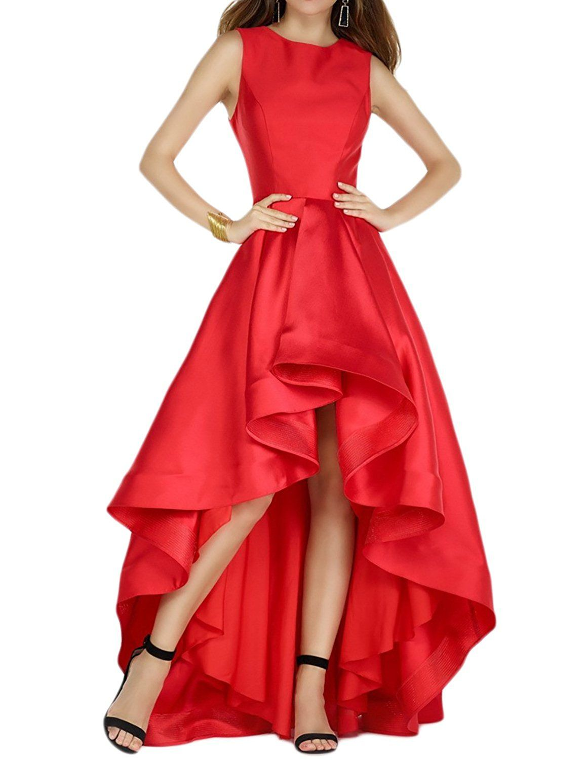 Fnina womenus elegant high low satin prom party dresses evening