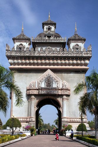 Patuxai Arch, Vientiane, Laos.  You cannot miss it. Vientiane is a spectacular destination.  One thing about the city is the number of excellent restaurants, and the French-influenced attention to detail in cooking.