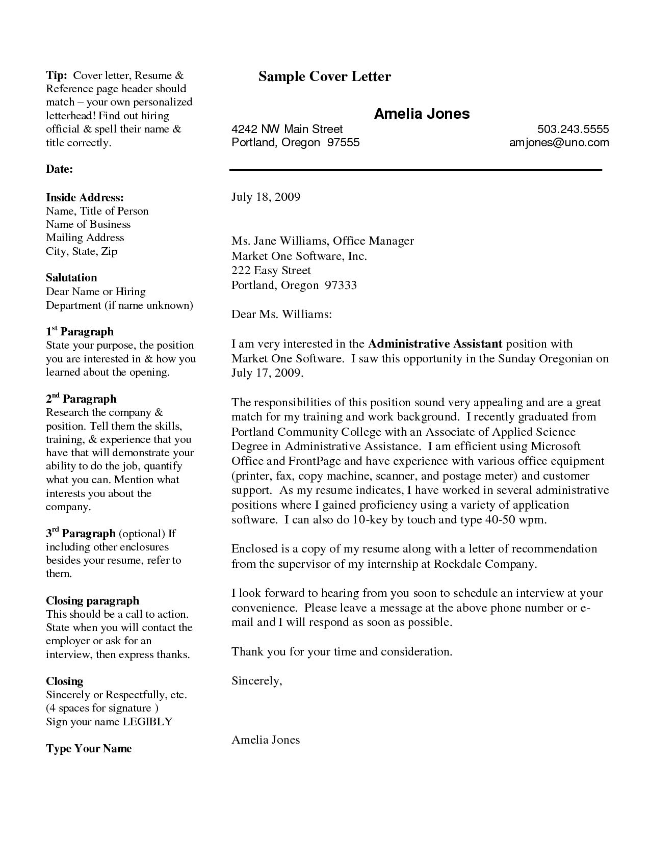 Free Cover Letter Examples Basic Cover Letter Breakdown This Is The Format  We Were Taught .  Basic Cover Letter Template