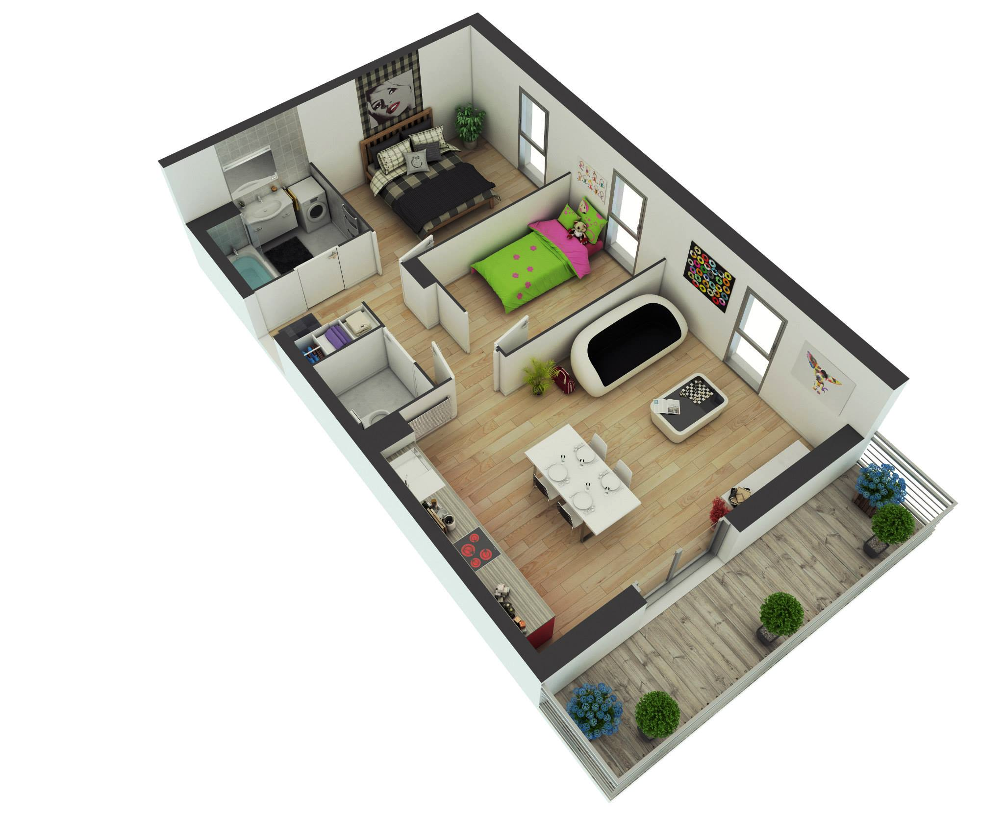25 More 2 Bedroom 3D Floor Plans   House plans   Home ...