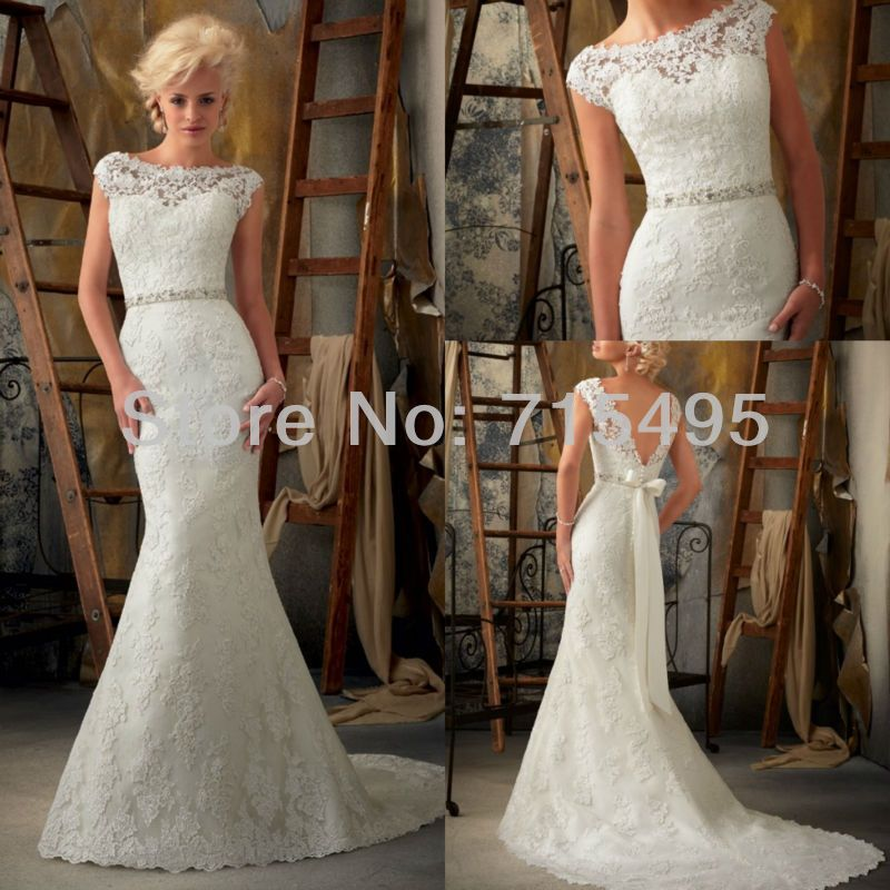 Graceful Scoop Neck Lace Beading Bridal Gown Mermaid V-Back Cap ...