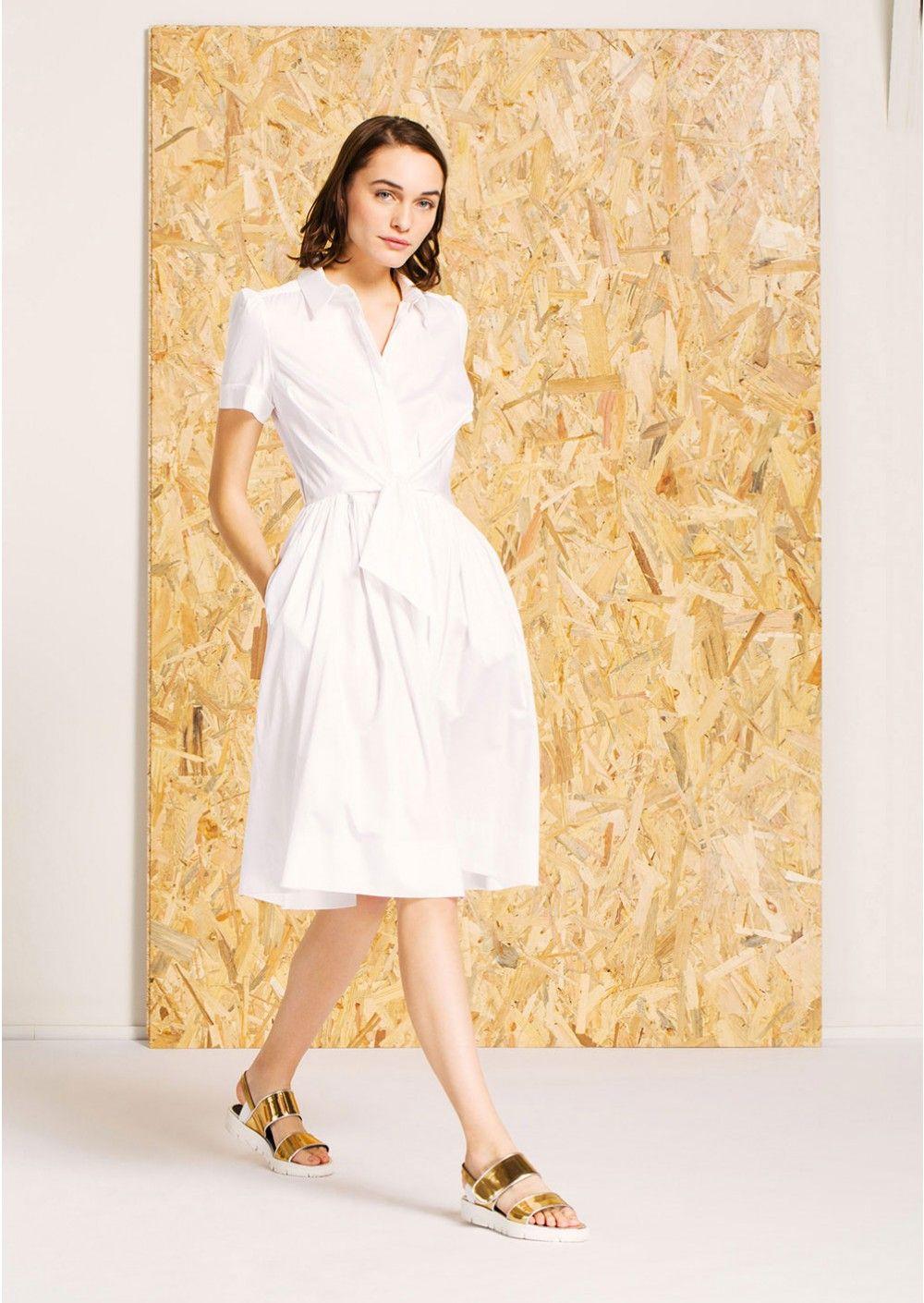 5c2d57276401 Robe chemise blanche mi-longue en satin de coton - Femme - Tara Jarmon 3