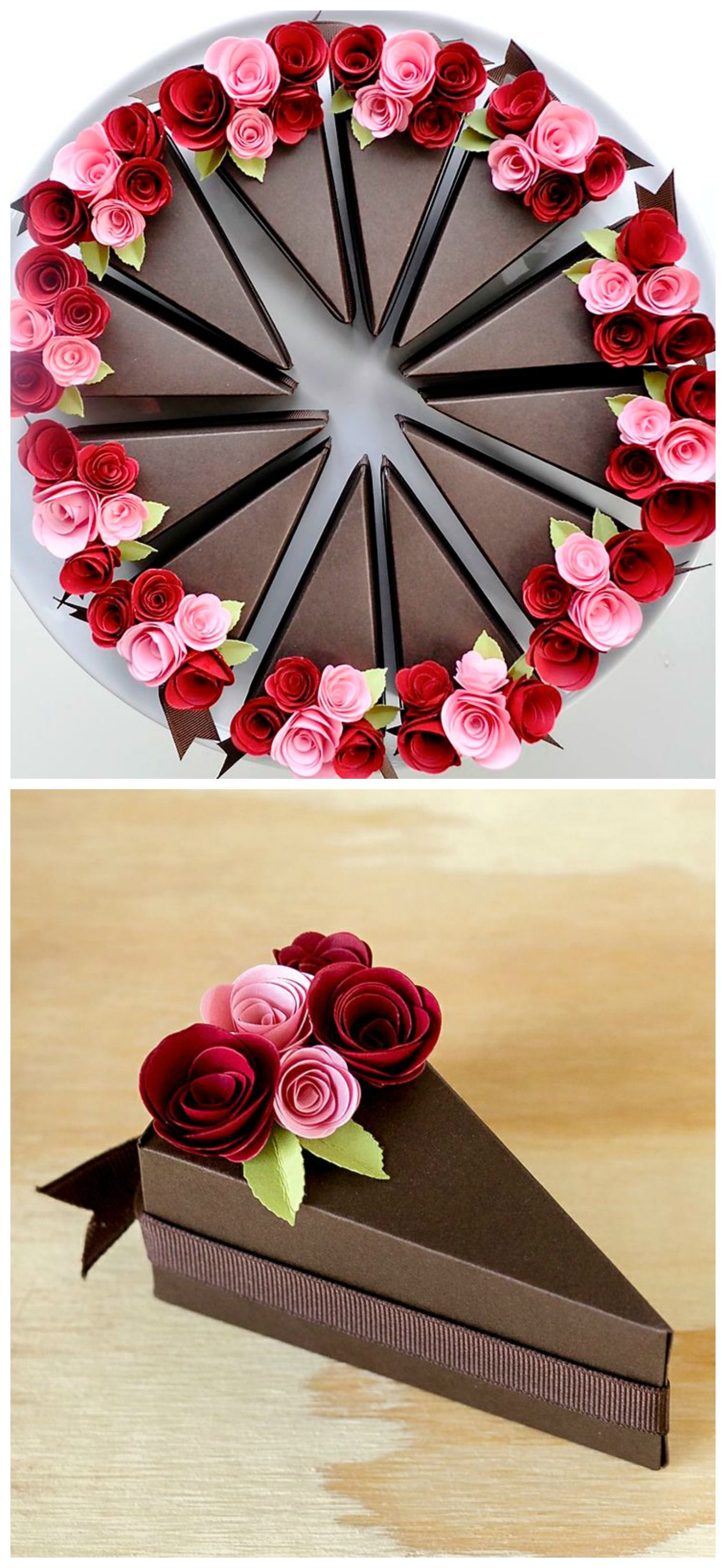 Paper Cake Slice Favor Boxes. Available in Chocolate and