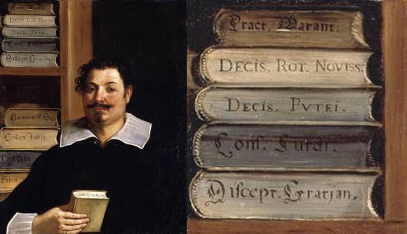 These days we tend to store books 'spine out' on our shelves but it was not always thus.  This painting (1626-8, by Guercino) of the Italian laywer Francesco Righetti shows him in his library with his law books shelved 'tail end out', with the titles written on the lower edge of the text block.