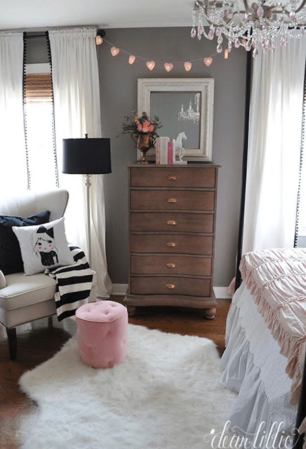 S Bedroom With Chocolate Brown Dresser Benjamin Moore French Press Dark Wood White Sheepskin Rug Pink Accents Purplish Gray Wall Paint