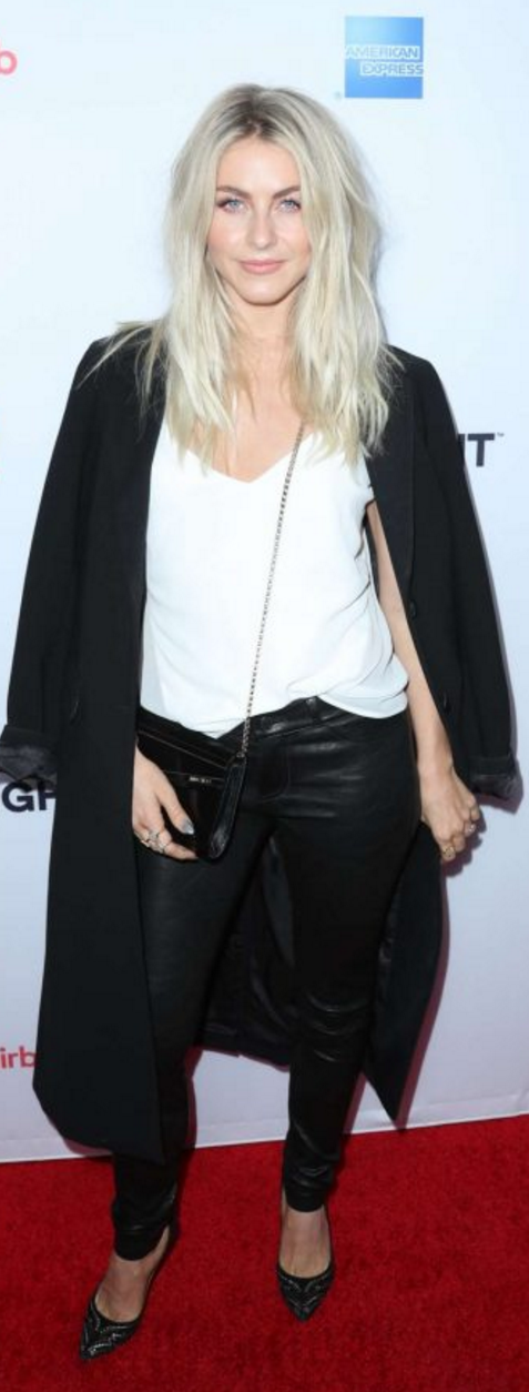 Who made  Julianne Hough's white tank top, jewelry, black leather pants, pumps, and handbag? #juliannehoughstyle