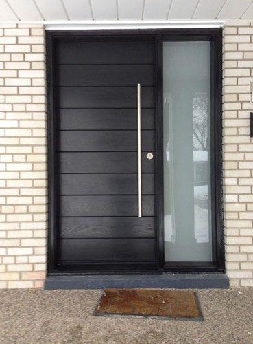 Front Entrance Door-Modern Door- Entry Front Door-Modern Fiberglass Door Frosted side lites installed in Aurora