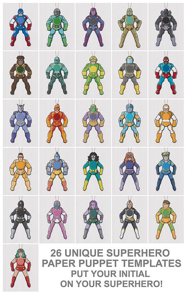 Superhero paper puppets template