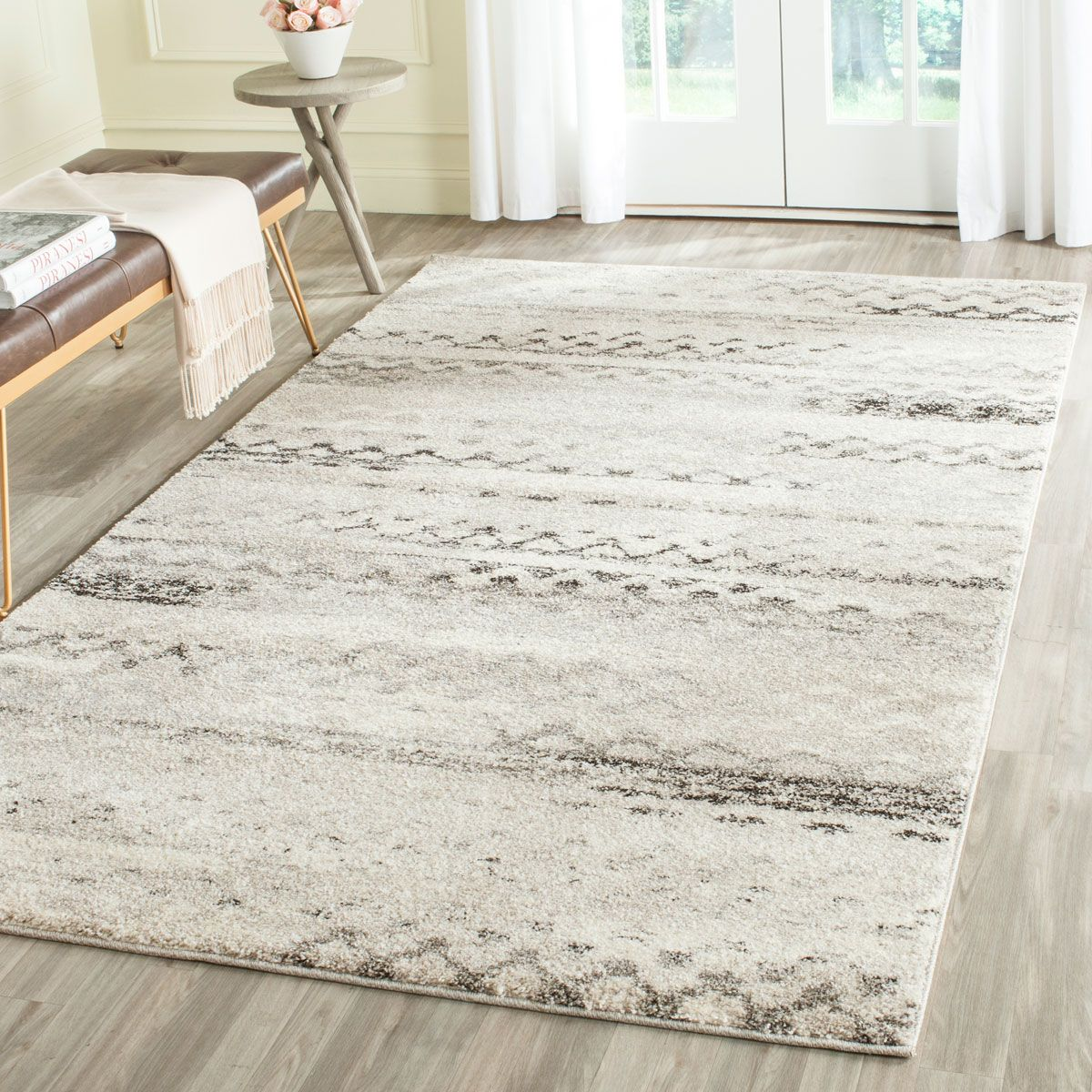 Living Room Area Rugs Contemporary Grey Tribal Retro Rug Grey Modern And Rugs