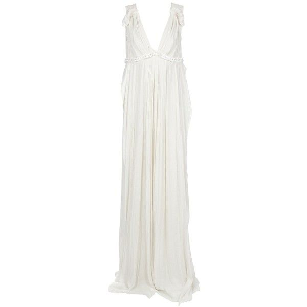 LANVIN Full-length dress (£2,519) ❤ liked on Polyvore featuring dresses, gowns, long dresses, lanvin, women, full length gowns, long cream dress, v-neck dresses and long v neck dress