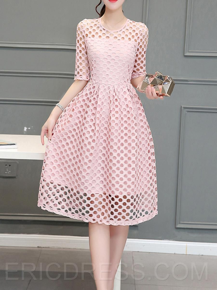 Solid color hollow half sleeve casual dress dress casual elegant