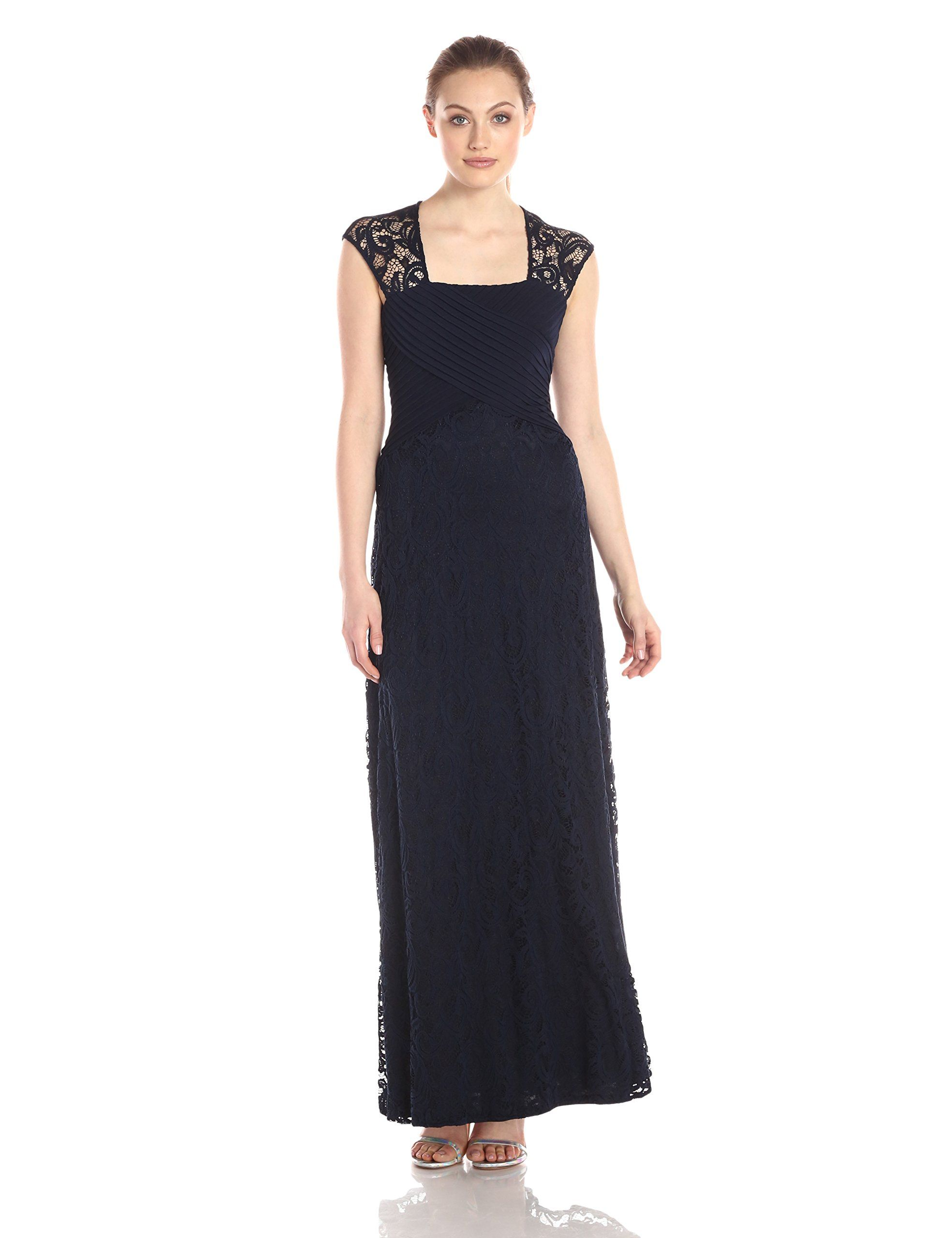 Calvin klein womenus cap sleeve gown with lace detail twilight
