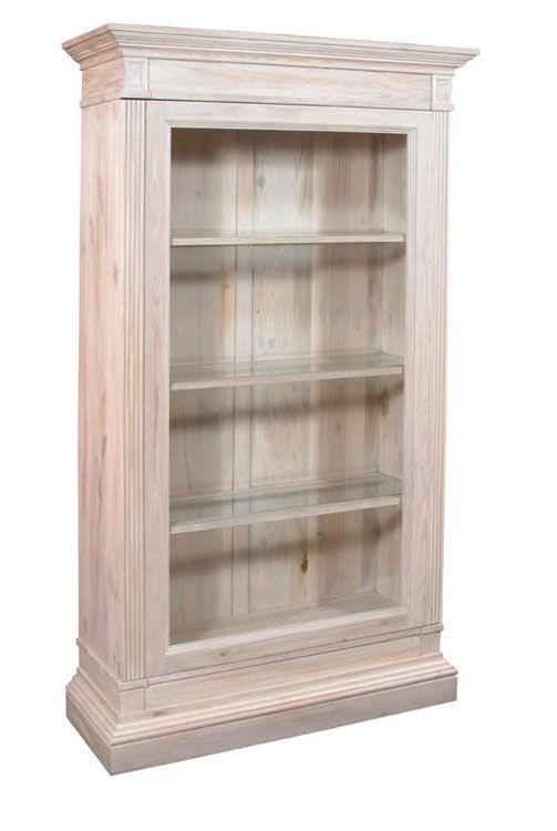 Asheville Bookcase Solid Pine Case In Washed White With
