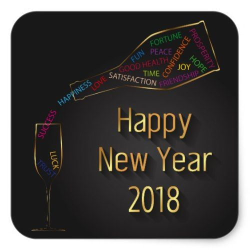 new year 2018 champagne bottle glass sticker