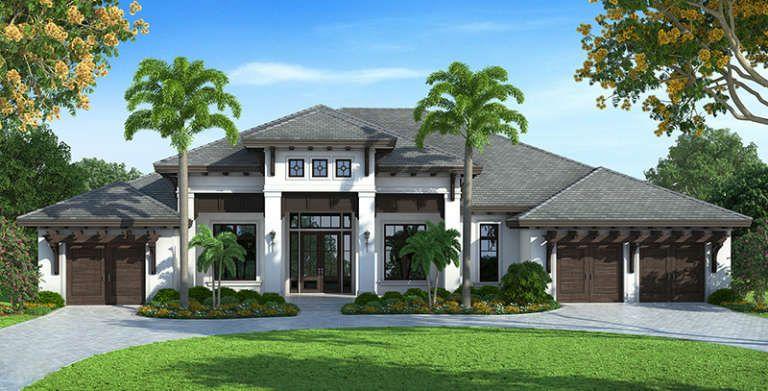 House Plan 1018 00220 Luxury Plan 4 599 Square Feet 4 Bedrooms 4 5 Bathrooms In 2020 Mediterranean Homes Exterior Mediterranean Homes Luxury House Plans