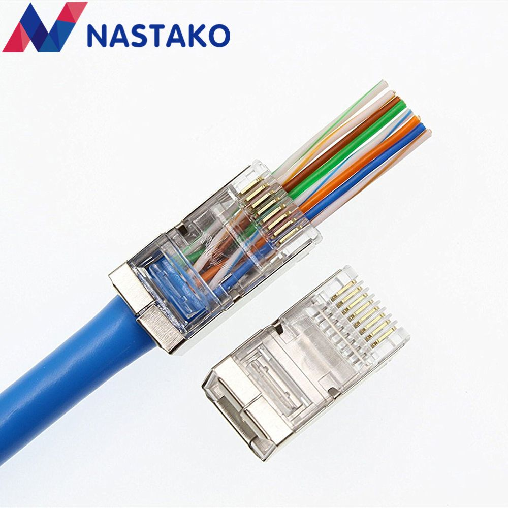 Sale Nastako 50100pcs Ez Rj45 Connector Cat5e Cat6 Network Cat 6 Modular Plug 8p8c Metal Shielded