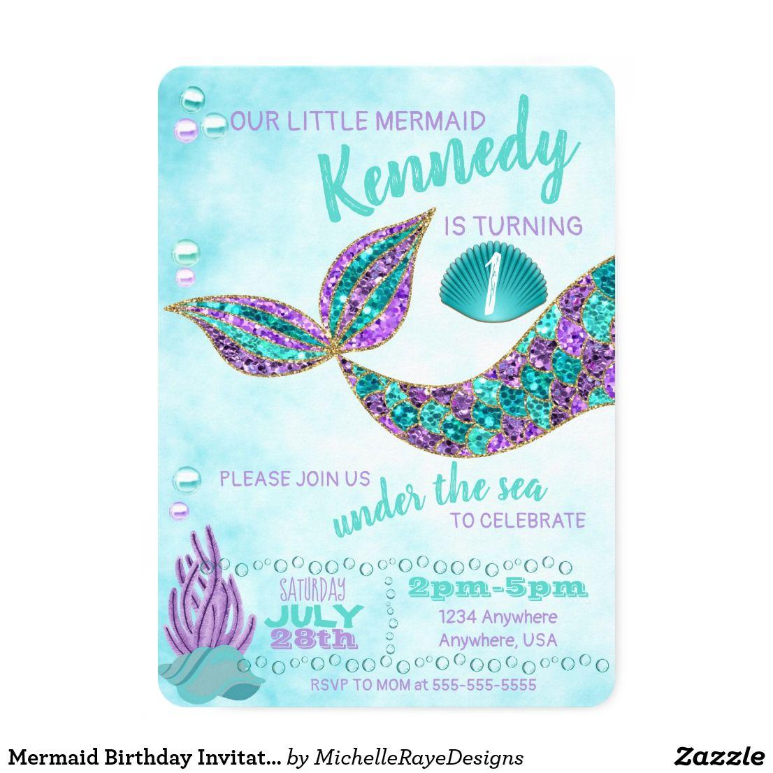 Mermaid birthday invitation under the sea party invitation in