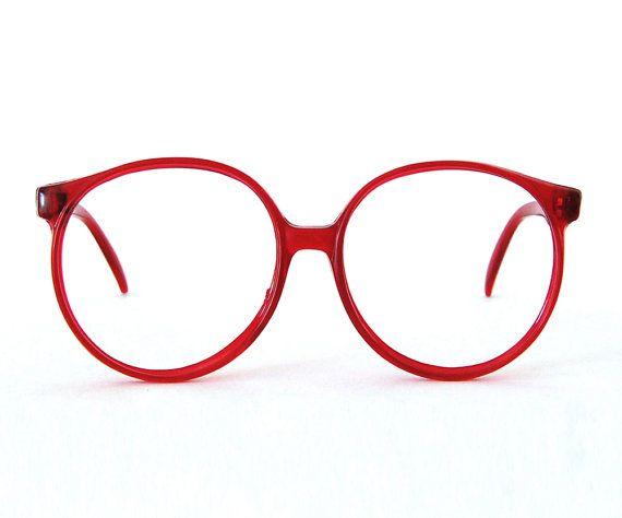 oversized round eyeglasses / translucent red frames   Glasses ...
