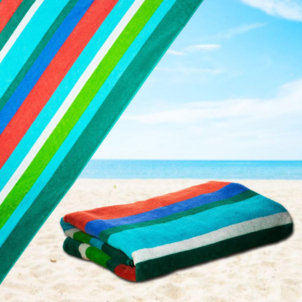Mardi Gras 100 Cotton Velour Striped Cabana Beach Towel Pool Oversize Delray Green Blue 34 X 64 Cabana Beach Towel Beach Towel Aqua Beach Towel