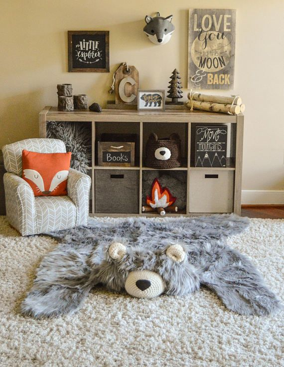 Woodland Nursery Rug Gray Bear Camping Room