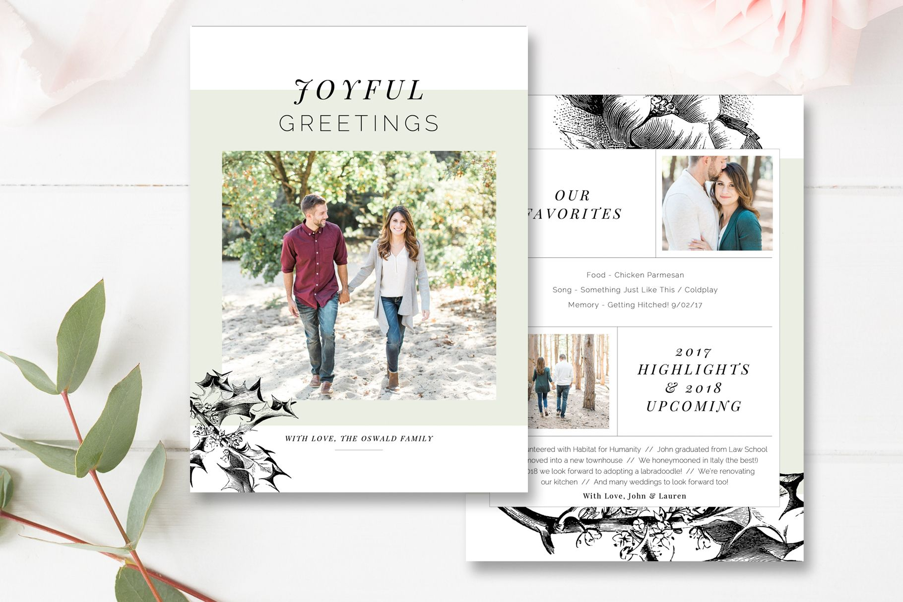 Year In Review Christmas Card Template - 5x7 Photo Card ...