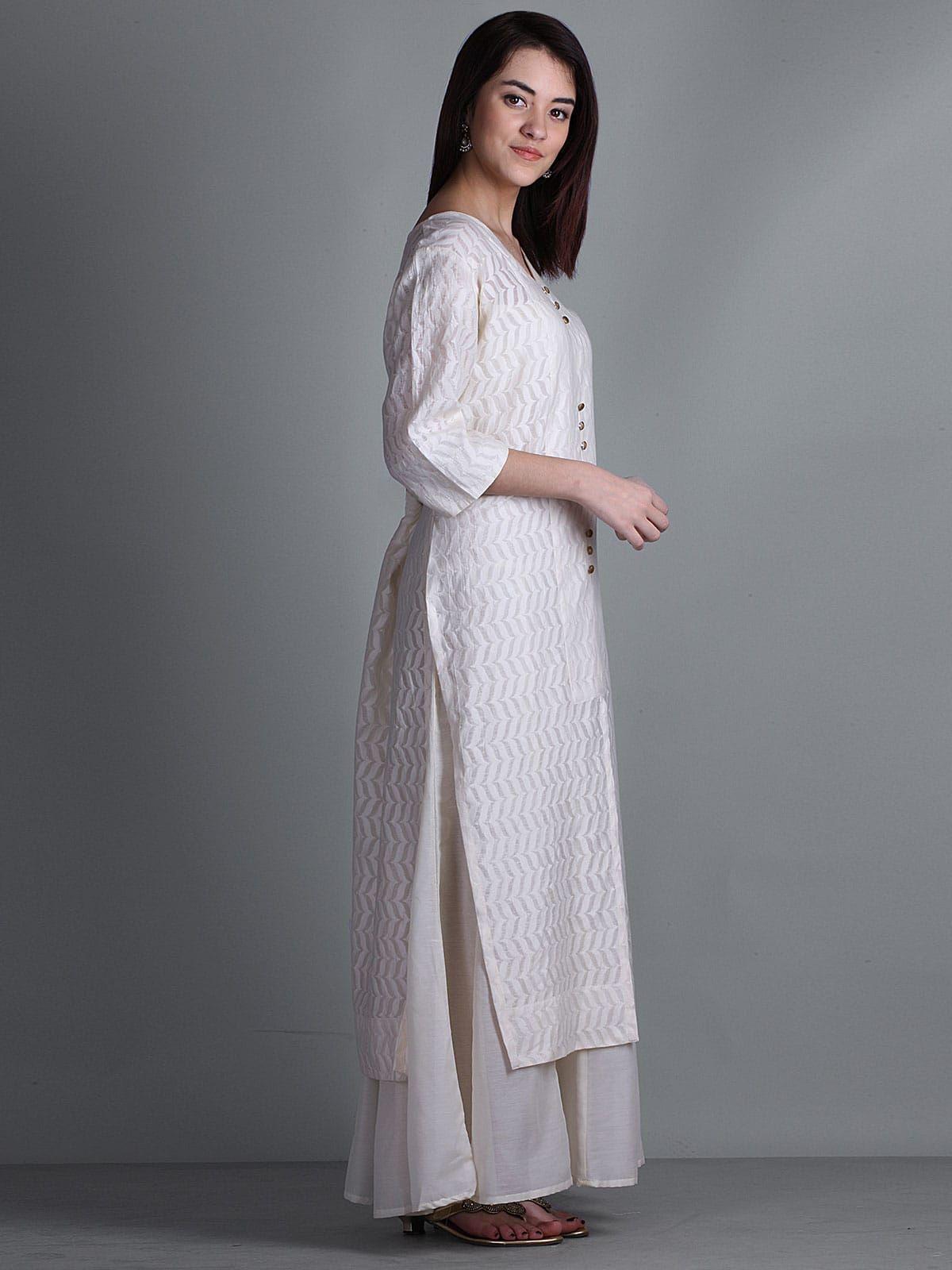 Off white th sleeves double layered kurta dresses pinterest