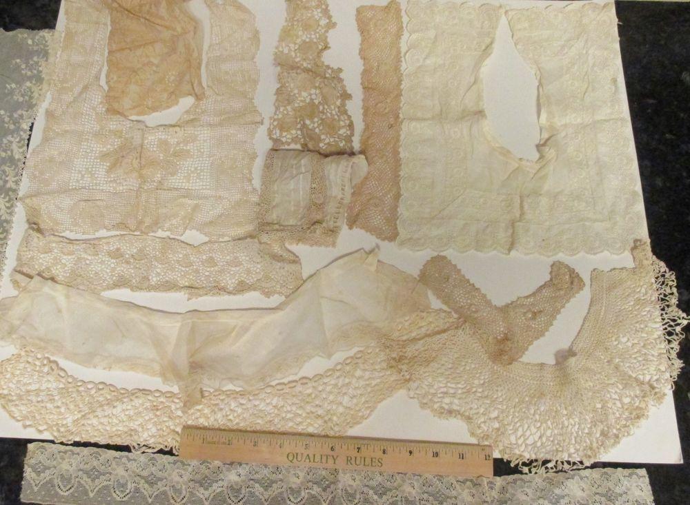 Vintage Lot of 13 Pc Ecru Lace Wide Fine Crochet Floral Flowers Collars Inserts