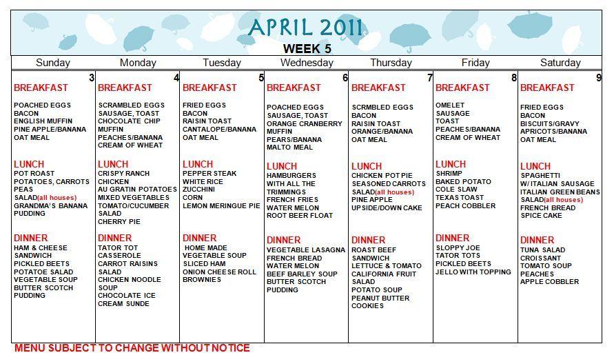 Sample Daycare Food Menu Daycare Menu Weekly Meal Plan Template