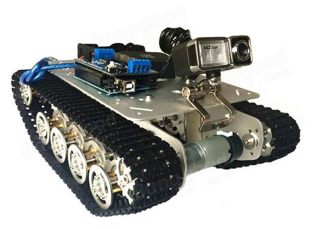 TS100 Intelligent Shock Absorption Metal Robot Tank Car Chassis Obstacle Crossing Robot Kit