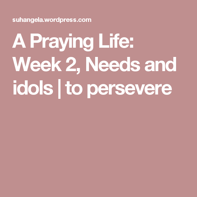 A Praying Life: Week 2, Needs and idols | to persevere