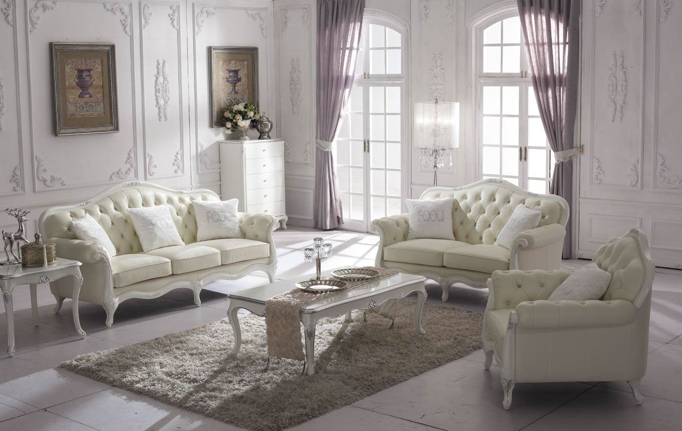 Beautiful Sofa Set In White And Silver.