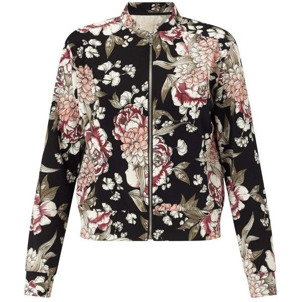 Girl Talk Clothing Womens Plus Size Black Floral Print Long Sleeve Bomber Jacket