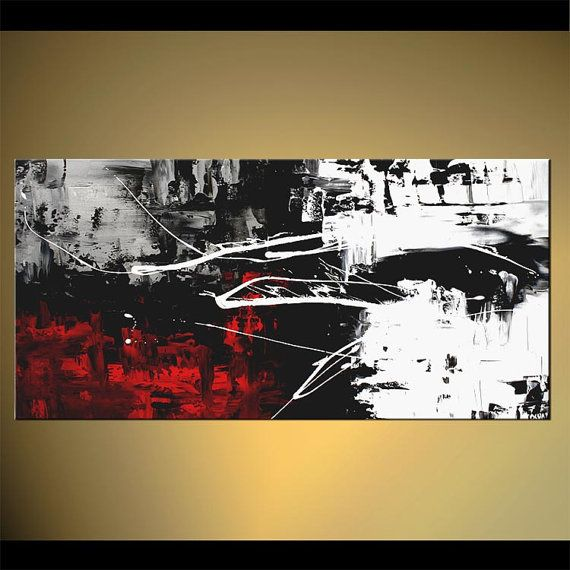 Modern 48 X 24 Abstract Painting Black White Red Acrylic Painting