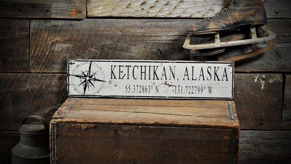 Custom Compass City State Lat Long Sign - Rustic Hand Made Distressed Wood ENS1000810