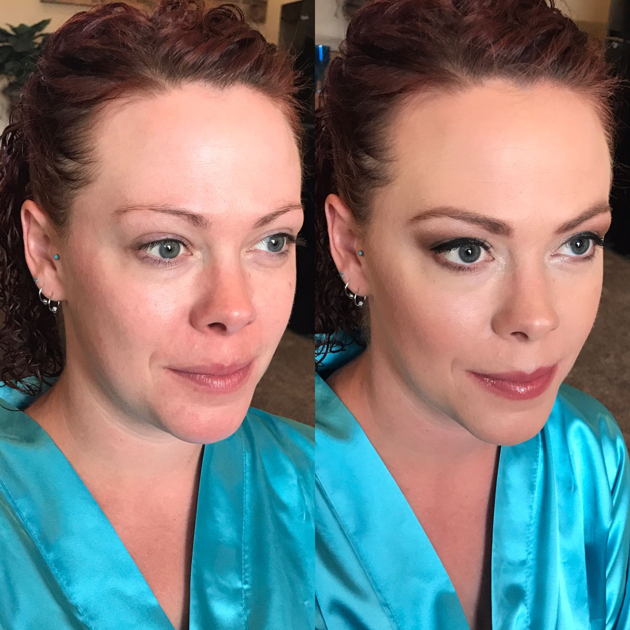 Before and after bridal bridesmaids makeup eyebrows soft ...