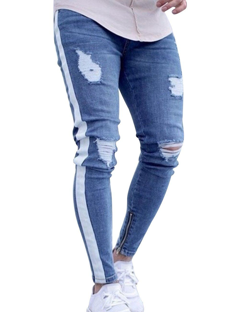 e0bd6132af9 HEQU Mens Ripped Skinny Ankle Zipper Jeans with Side Stripe Twill Denim  Pants Light Blue M