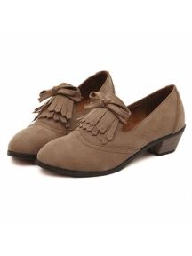 Khaki Vintage British Style Tassel Bow Thick Heel Shoes
