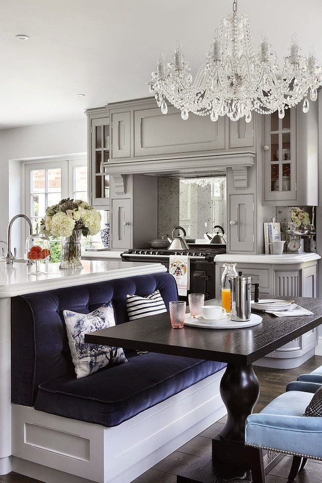 Family Residence By Oliver Burns Love The Bench Dining Table Glamorous White And Grey Kitchen With Midnight Blue Sitting Booth Island