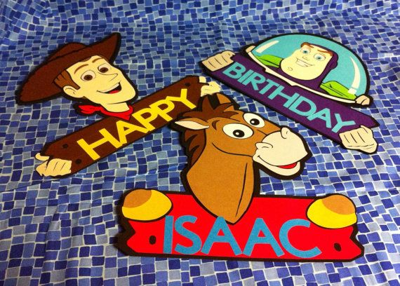3 large Disney Toy Story door sign/ wall decorations (approx 11 in) on & 3 large Disney Toy Story door sign/ wall decorations (approx 11 in ...