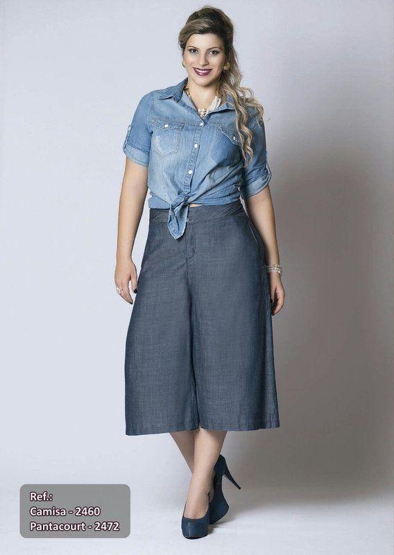 83a396f26b8 Pantacourt Jeans Plus Size Fashion - Daluz Plus Size - Loja Virtual - Moda  Grande - Compre Já sem sair de casa!