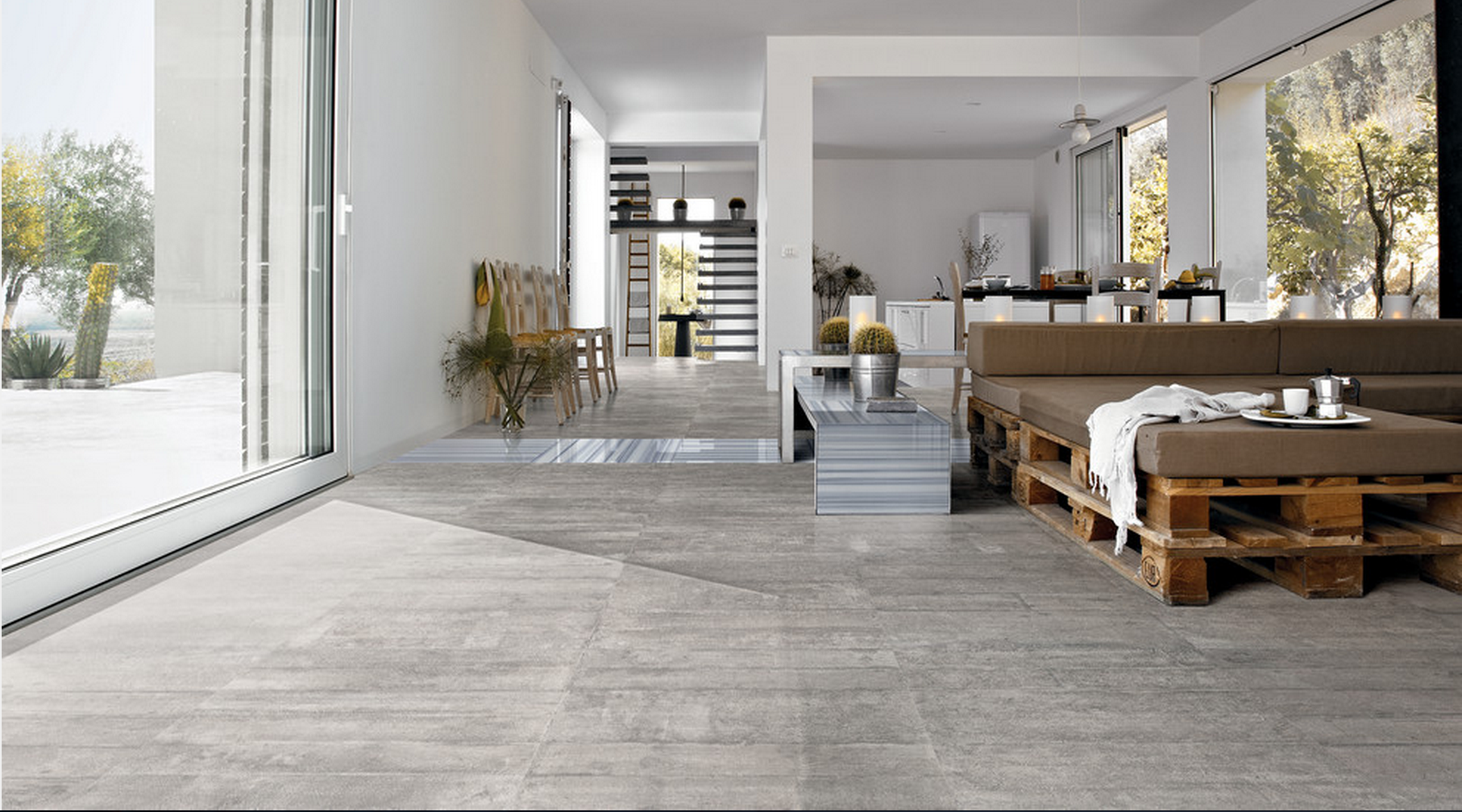 Concrete Finish Looking Tiles Living room tiles