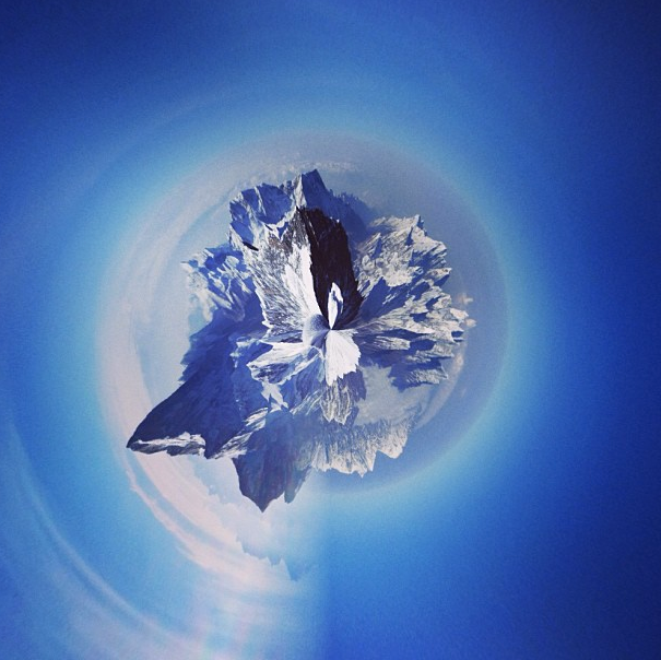 Looking down from the summit of Everest, from climber/photographer Emilyaharrington