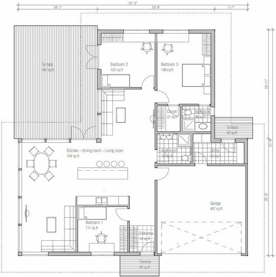 0025Plano de Casa de 1 piso y 170 metros cuadrados tiene un baño - plan maison 170 m2 plain pied