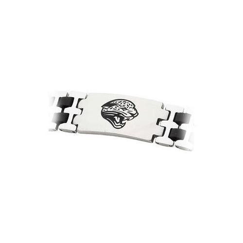 Stainless Steel and Rubber Jacksonville Jaguars Team Logo Bracelet - 8 Inch