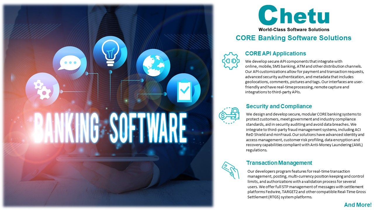 Core Banking Solutions Custom Banking Software Chetu In 2020 Core Banking Banking Software Banking