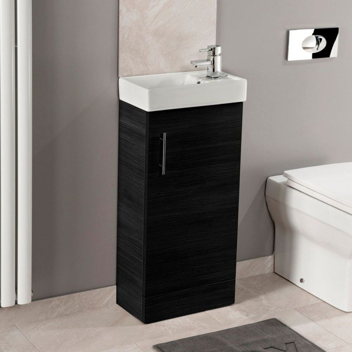 Maisie Compact 400mm Mini Cloakroom Vanity Unit Basin Black Ash Drench Cloakroom Vanity Unit Wall Hung Vanity Vanity Units