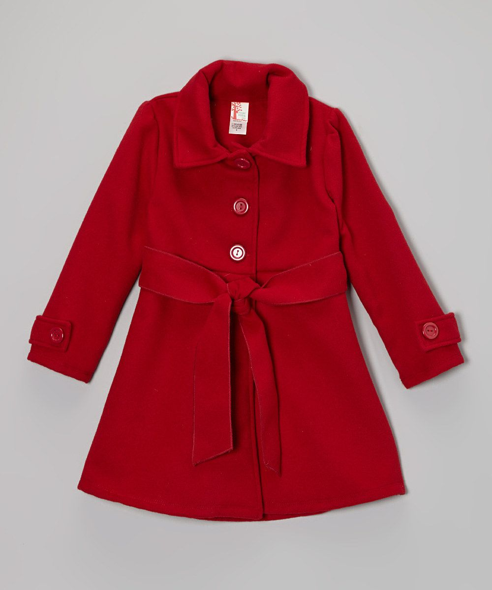 Red Tie-Waist Peacoat - Girls