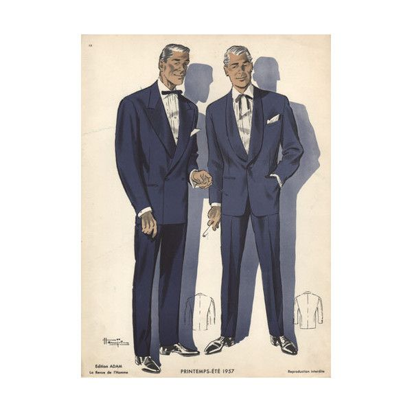 Evening Suits For Men Vintage Fashion Print 1950s 40 Liked On