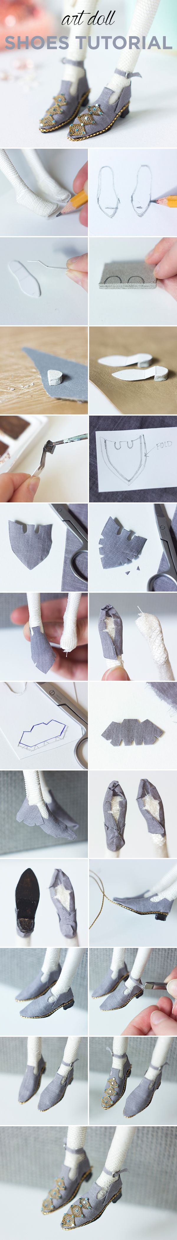 Miniature art doll shoes tutorial #dollmaking
